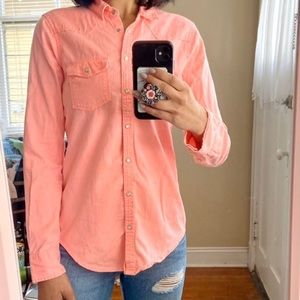 Hollister Co Coral Neon Pearl snap Button down s
